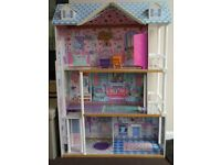 Wooden Dolls House for Barbie Dolls plus Car & Barbie Dolls - £15 for all