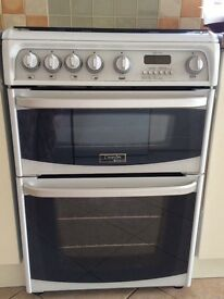 White Cannon Hotpoint freestanding double oven gas cooker