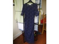 Beautiful navy lace maternity dress, Bluebelle size 12, mid length VGC