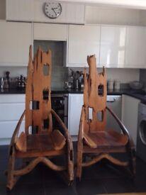 Pair of reclaimed teak high chairs.