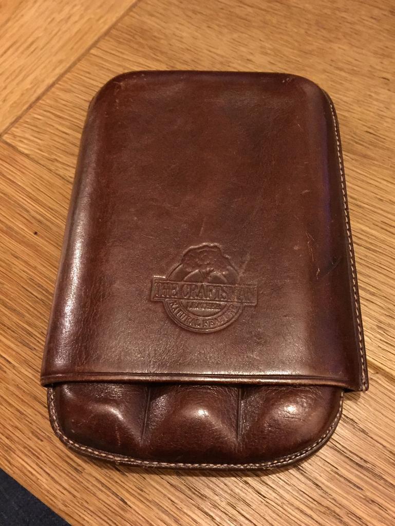 Craftsman Brown Leather Cigar Holder
