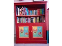 Hand painted, solid wood cabinet/book case/ cupboard