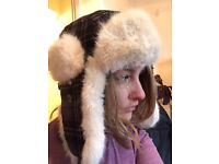 Barts Women's Bomber Hat - purple with white faux fur lining - great condition