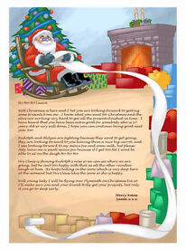 Personalised Christmas Letter From Santa Claus with North pole stamped envelope