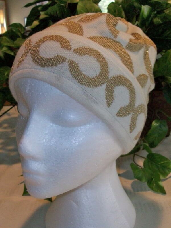 Coach Hat Ladies Womens Lurex Op Art C Ivory Wool Blend Gold 81002 NWT