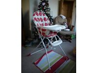 Baby Weavers apple print high chair- good condition