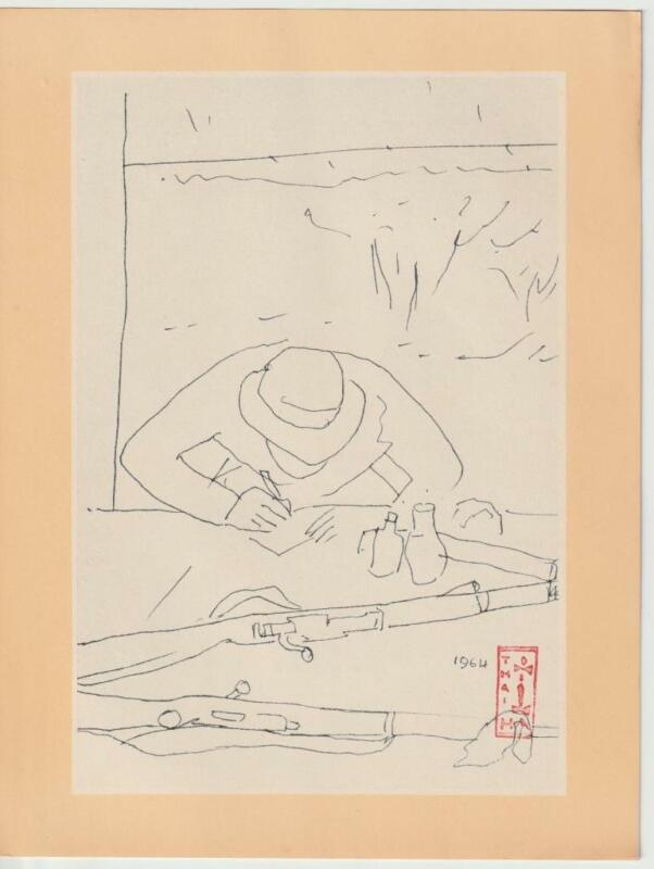 Vietnam War Art Print 42 Writing a Letter 1967 Propaganda Viet Cong Rifle