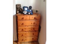 Large Solid Wooden Pine Tall Boy - 6 Drawer