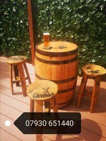 Whisky Barrel And Stool Set