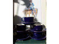 Vintage Blue French Martell Cognac Tea Coffee Set