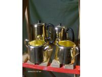 Vintage Towerbrite 4 piece tea set in Gold 1960s