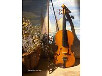 Vintage 1970s Violin With Case and Bow 3/4 size