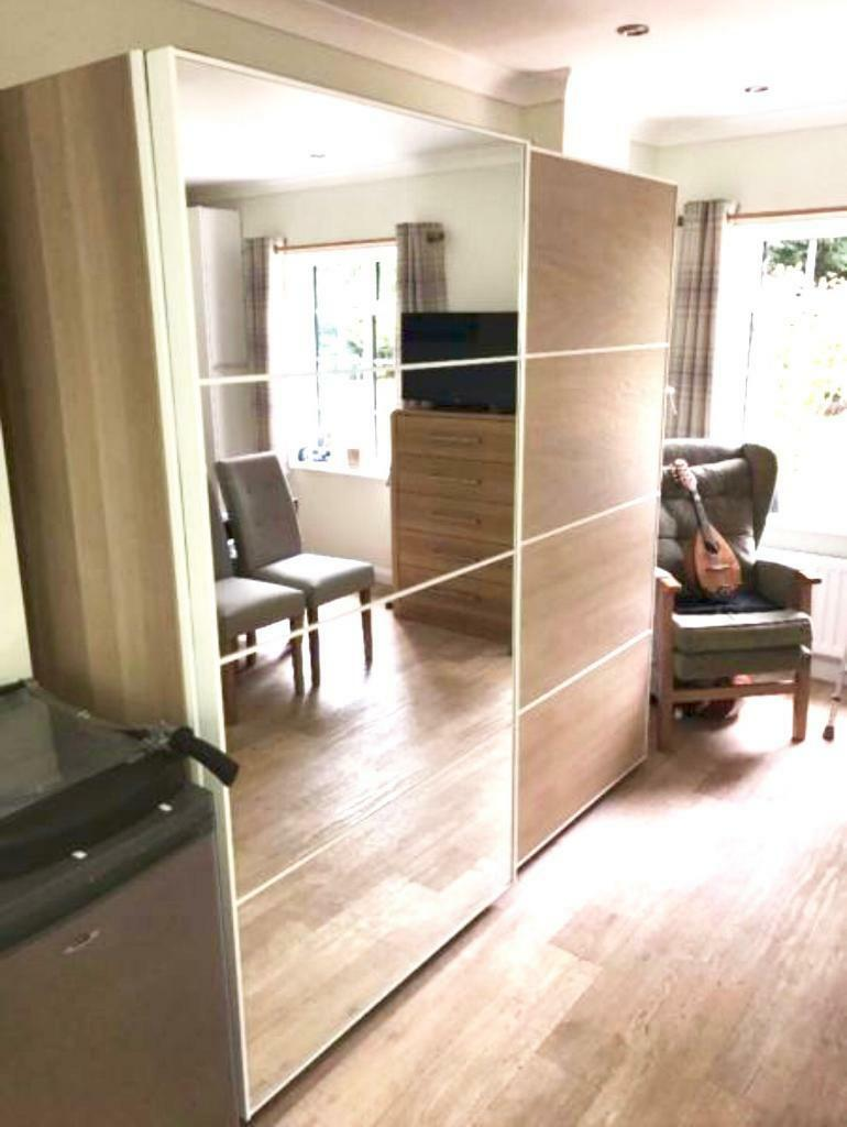 Ikea pax auli mirror ilseng white stained oak sliding for Miroir wenge ikea
