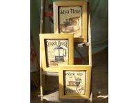 set of 3 French coffee cup pictures