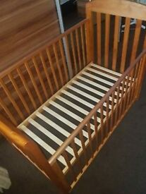 Cosatto side drop cot. Solid wood.