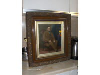Large Victorian Antique Painting 18th Century Wall Picture in wood Frame