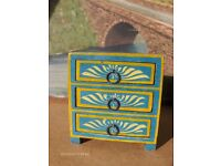 Indian Vintage Chest hand,painted table top drawers, jewellery Box