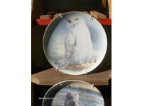Set of 3 Vintage Wol Plates Collectors Plates , Snowy Plates