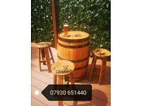 Whisky Barrel And 4 Stool Set