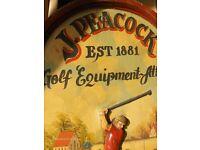 Embossed J. Peacock Golf Equipment Attire Oil Painting Est 1881