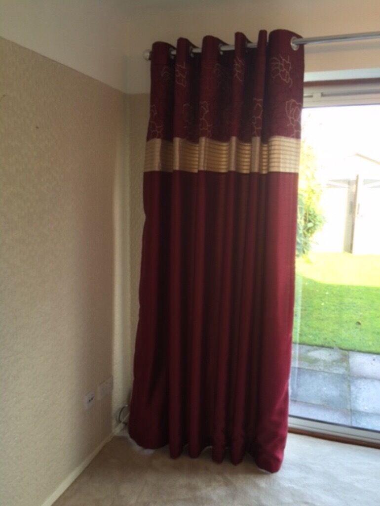 Dunhelm Mill 90 X 90 Curtains + Chrome Curtain Pole