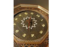 Very Large Vintage Persian Handmade Wooden Inlaid Khatam Frame Wall Clock