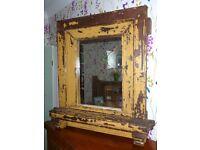 Huge Antique Distressed Oak Framed Mirror 84 x 90cm Shabby Chic Vintage