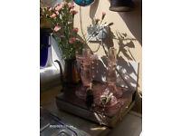 Vintage Glass Candlestick , set of 2 Pink Glass Candlestick