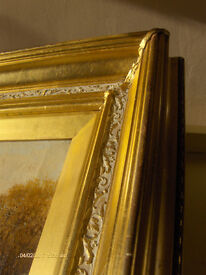 Antique 19th Century Scottish oil Painting Landscape In Gold Wooden Frame Signed