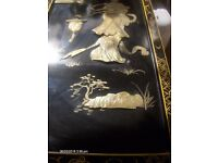 Large Vintage Chinese Carved Mother of Pearl Wall Art Black Lacquer
