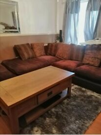 Right sided corner sofa with cushions