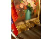 Vintage Oil Painting Still Life Pink Flowers in Vase