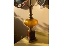 Leviton Antique Brass Table Lamp with amber glass base
