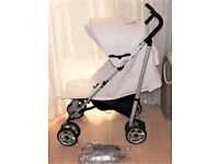 masimmo pram / pushchair white faux leather , with pink inside hood ,gwo