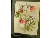 Vintage still life painting In Wooden Frame