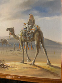 Signed Vintage Oil Painting Arab Man Riding a Camel With Frame