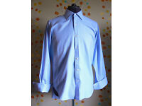 T M Lewin Mens Luxury Twill Shirt, Blue, 15.5 Collar Regular Fit Double Cuff, As New Condition