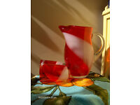 Beautiful Retro Vintage Red Jug Set With 2 Glasses