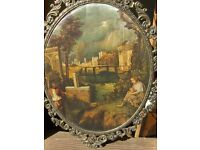 Large Vintage Italian Silk Prints Wall Picture in Brass Frame Made in Italy
