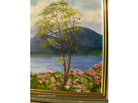 Beautiful oil painting landscape like mountains, valleys and Tree