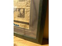 Vintage Wall Art german 1970s newpaper in Frame