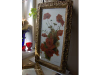 Set of 2 oil painting 19th still life oil painting with gold frames