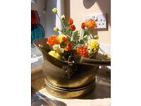 Vintage Brass Fire Coal bucket .Scuttle Bucket Plant Pot