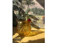 Vintage Glass Dish, Amber Glass Chicken Dish