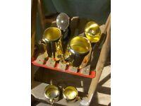 Vintage 1960s Coffee Tea Set In Gold , Stainless Tableware Set Towerbrite
