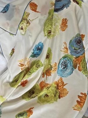 "Vintage Fine Silk 31"" Square Scarf Orange Blue Green Watercolor Roses"