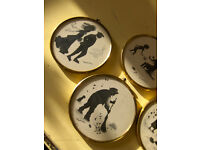 Edwardian Winter By Peter Bates Miniature Silhouette Wall Pictures With Gold Frame