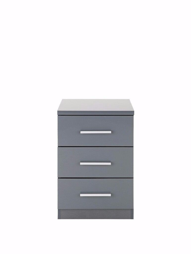 Prague High Gloss 3 Drawer Bedside Chest Grey