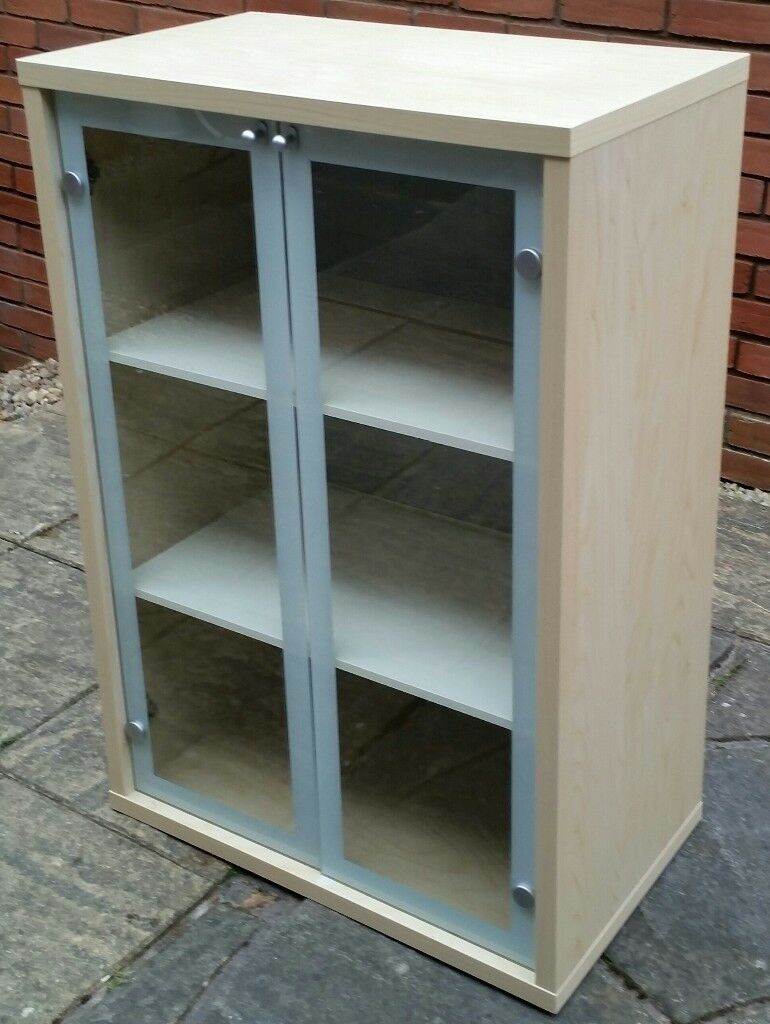Ikea Magiker Bookcase Storage Cabinet With Glass Doors 100 X 69 X
