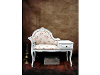 Christmas Gift! Vintage Telephone Seat Chair Table Painted Shabby Chic Roses